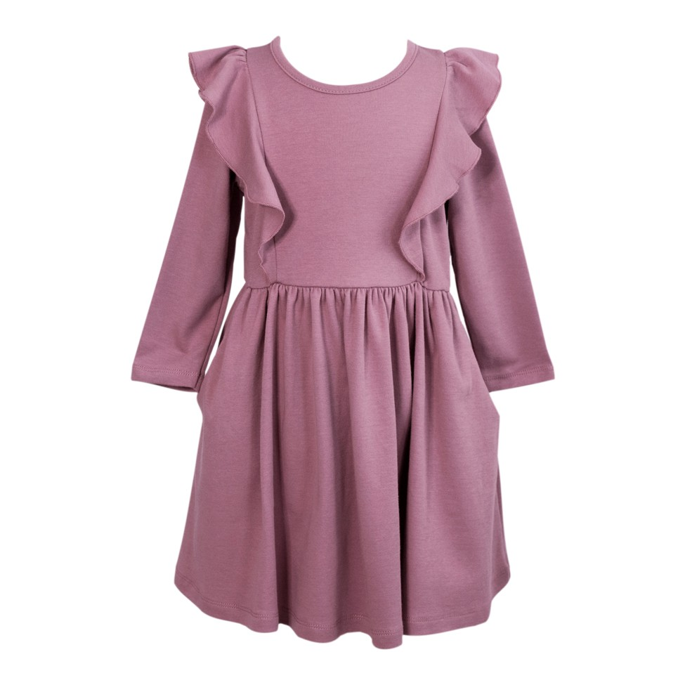Long Sleeve Flutter Twirl Dress