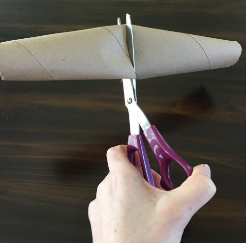 Cutting the paper towel tube