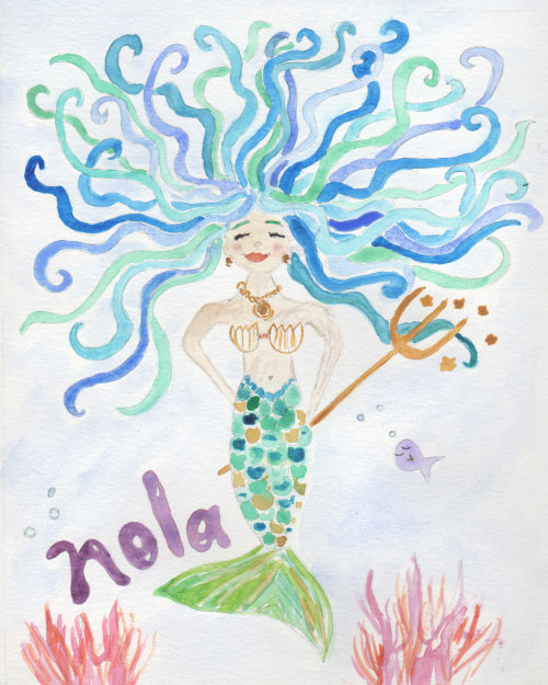 Custom watercolor mermaid