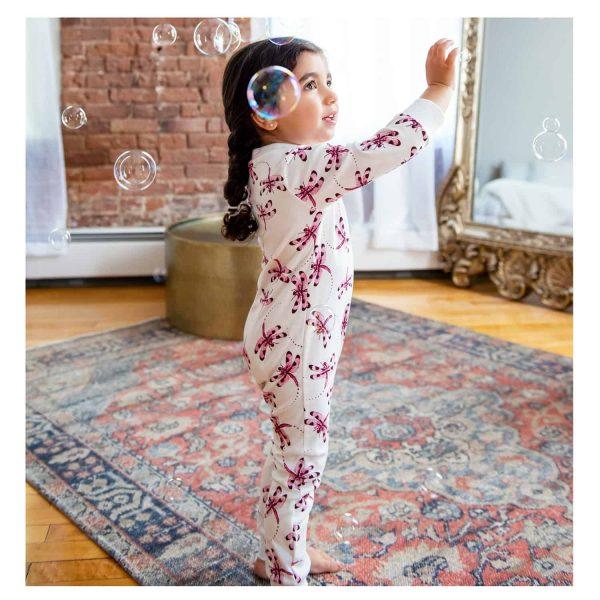 Dragonfly model Full Zip Footless Pajama