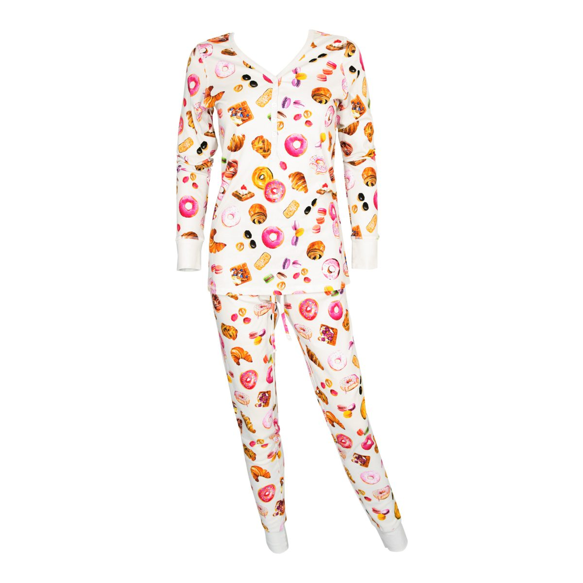 Paris Patisserie print Womens Jogger/Henley Pajama Set